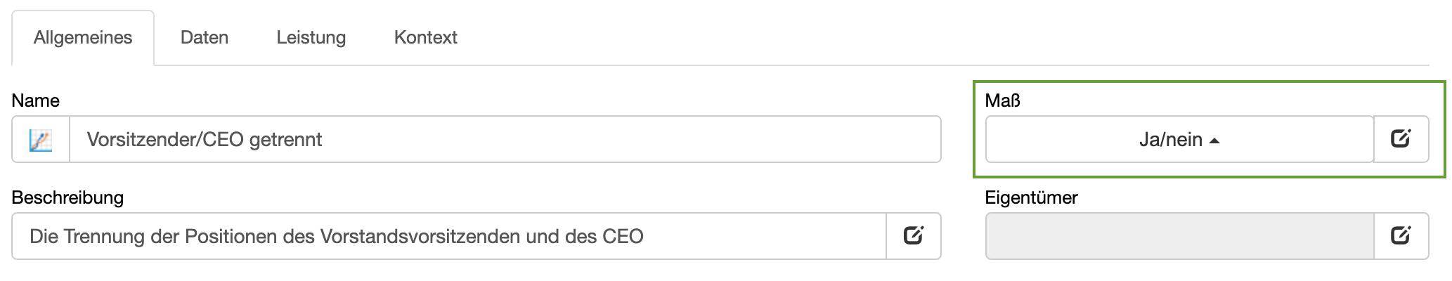 Beispiel für binäre Kennzahl: Trennung Vorsitzender/CEO
