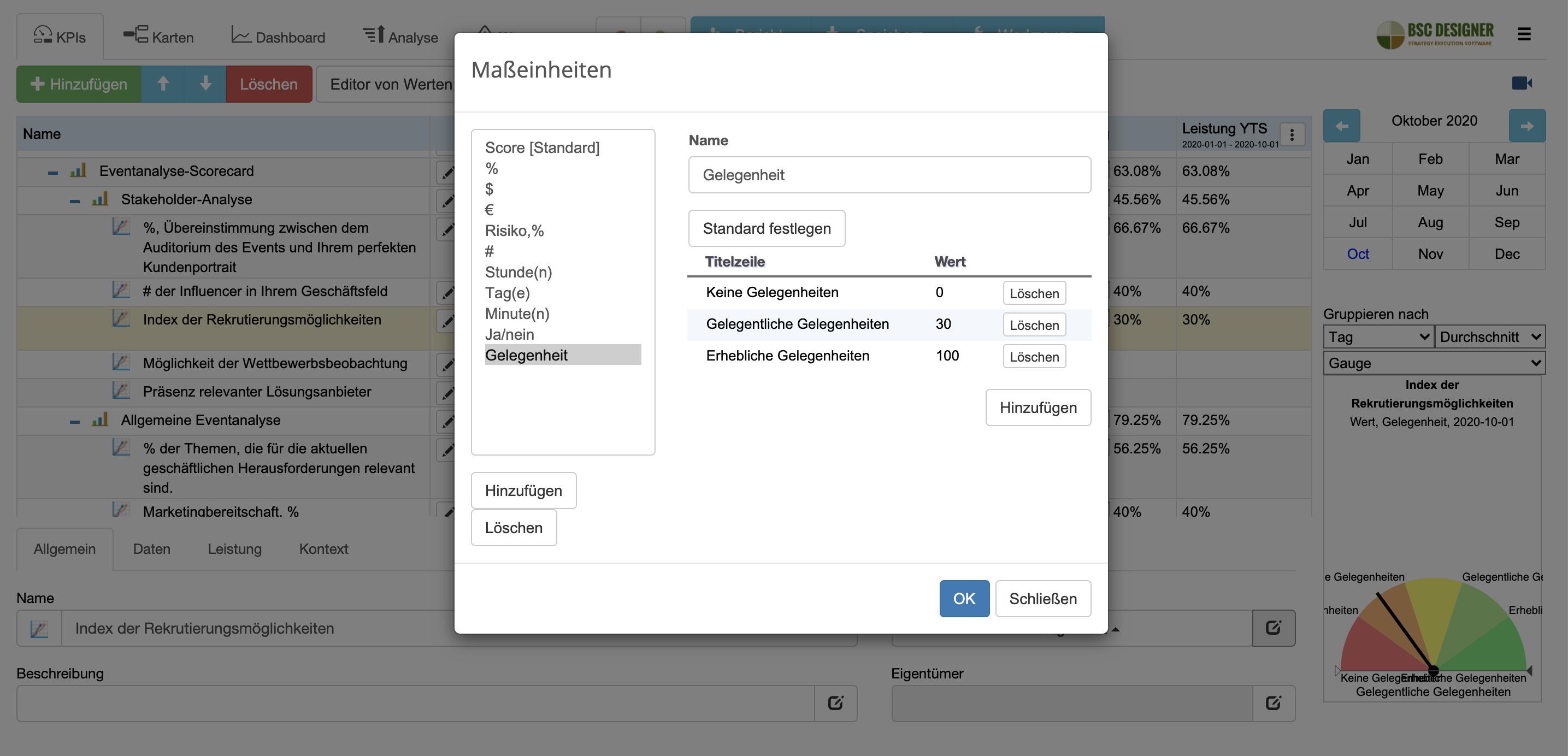Benutzerdefinierte Maßeinheiten für Rekrutierungsmöglichkeiten