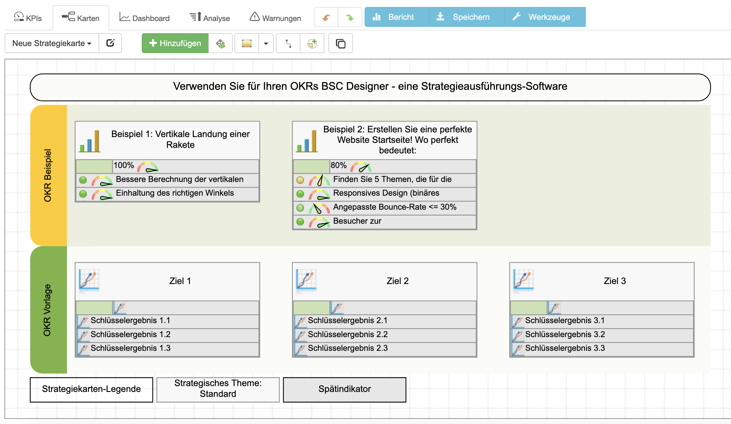 OKR-Beispiel und Vorlage in BSC Designer Online