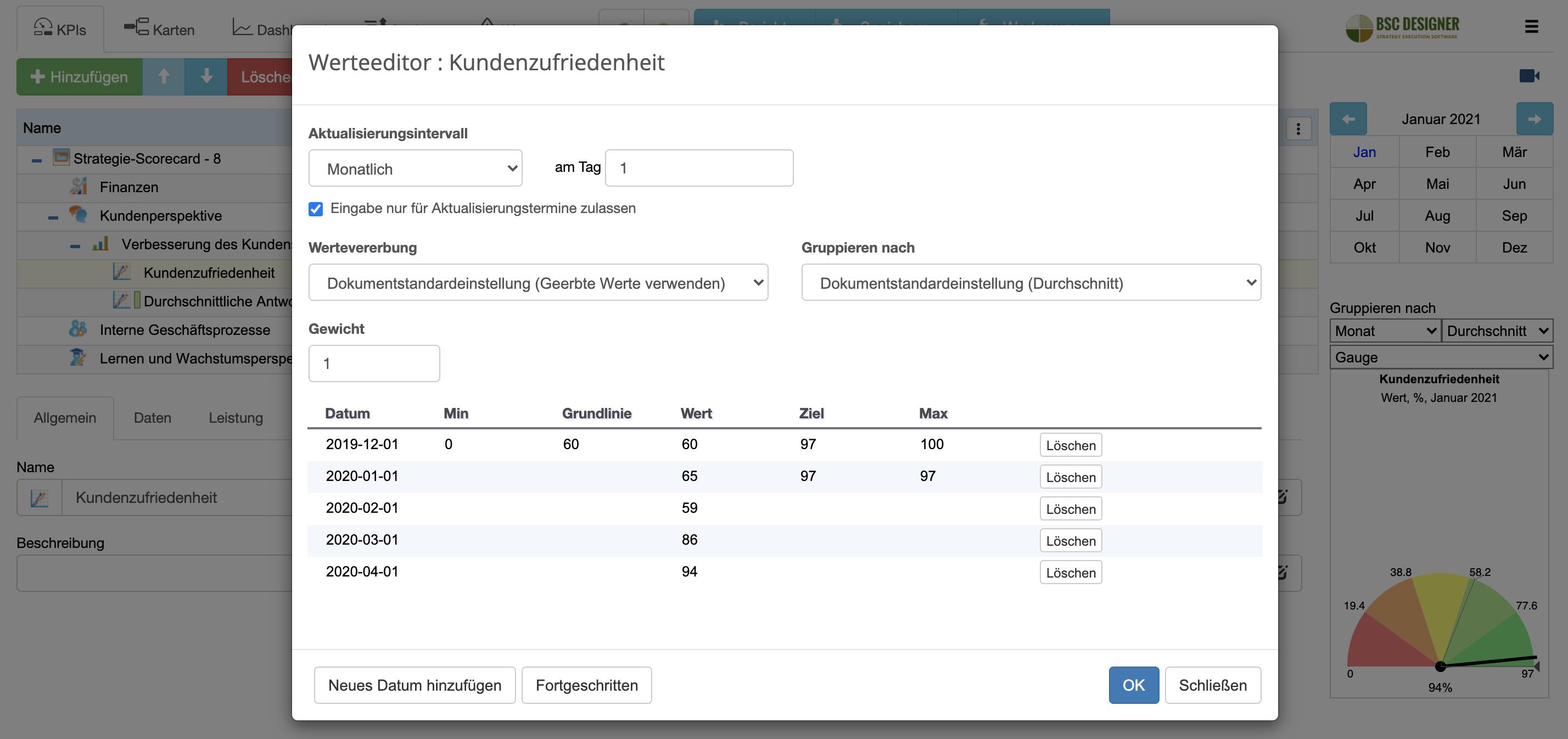 KPI-Updateintervall und Gruppierung einstellen