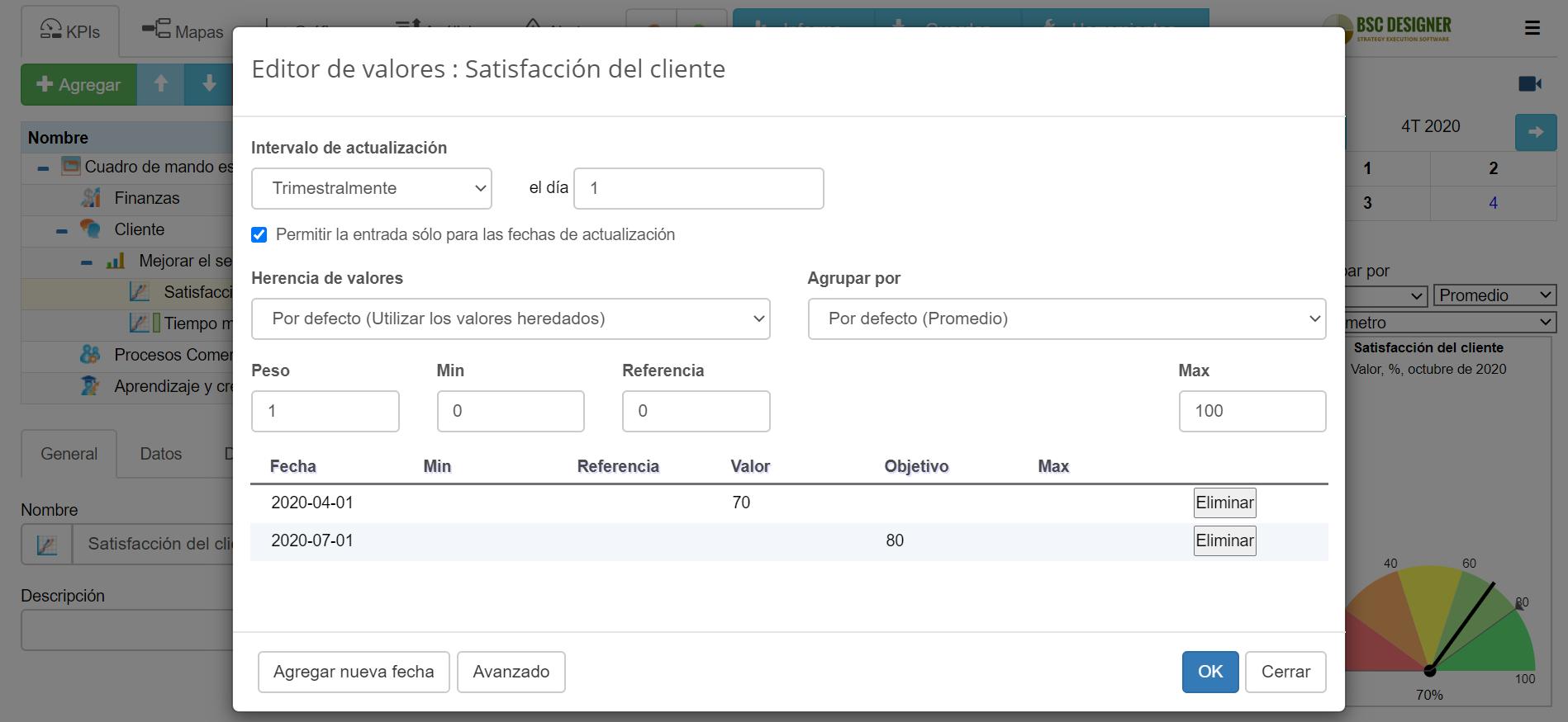 Un ejemplo de definición de intervalo de actualización para satisfacción del cliente