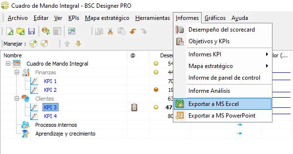 Exportar un Cuadro de Mando de KPI a MS Excel