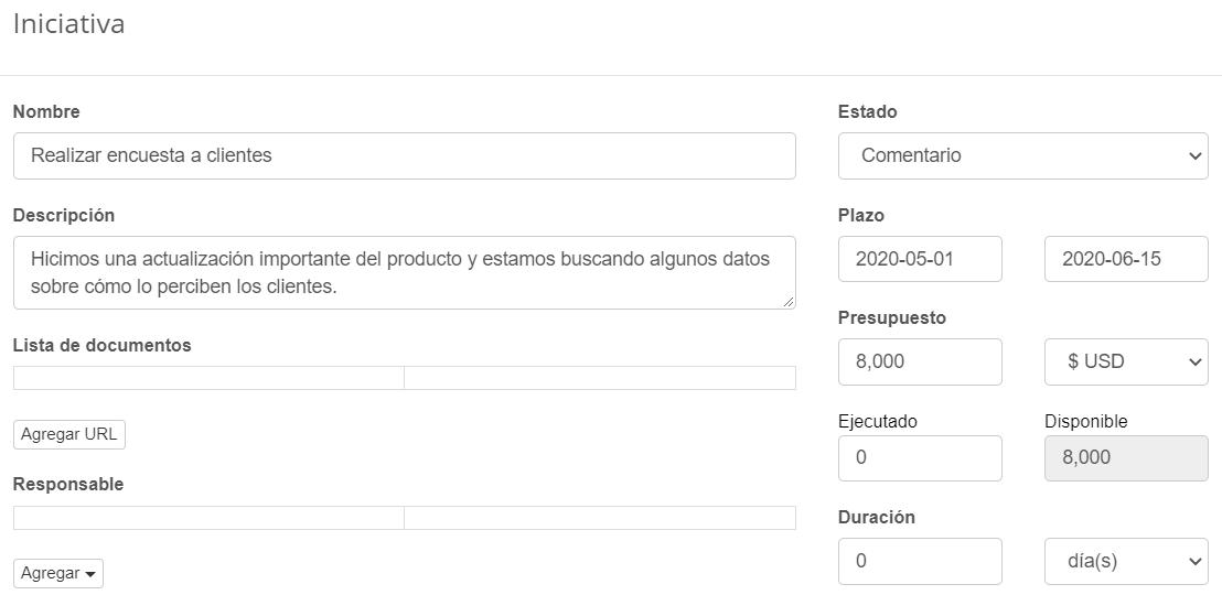 Iniciativa: Realizar una encuesta al cliente
