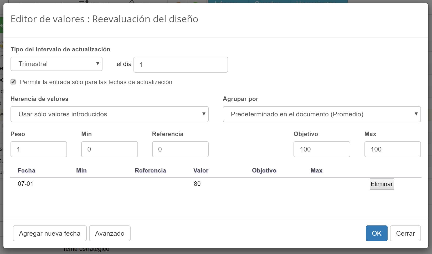 Configuración del KPI para revalorización del diseño