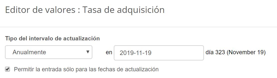 Intervalo de actualización de la tasa de adquisición