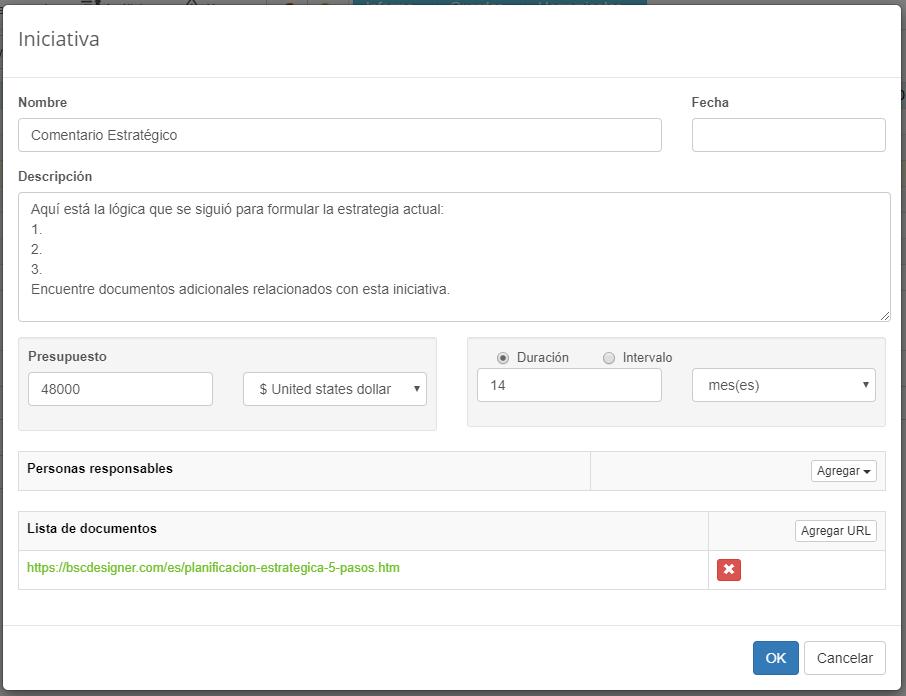 Documentación de soporte de la estrategia en BSC Designer