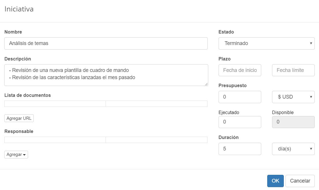Iniciativa de análisis de temas en BSC Designer