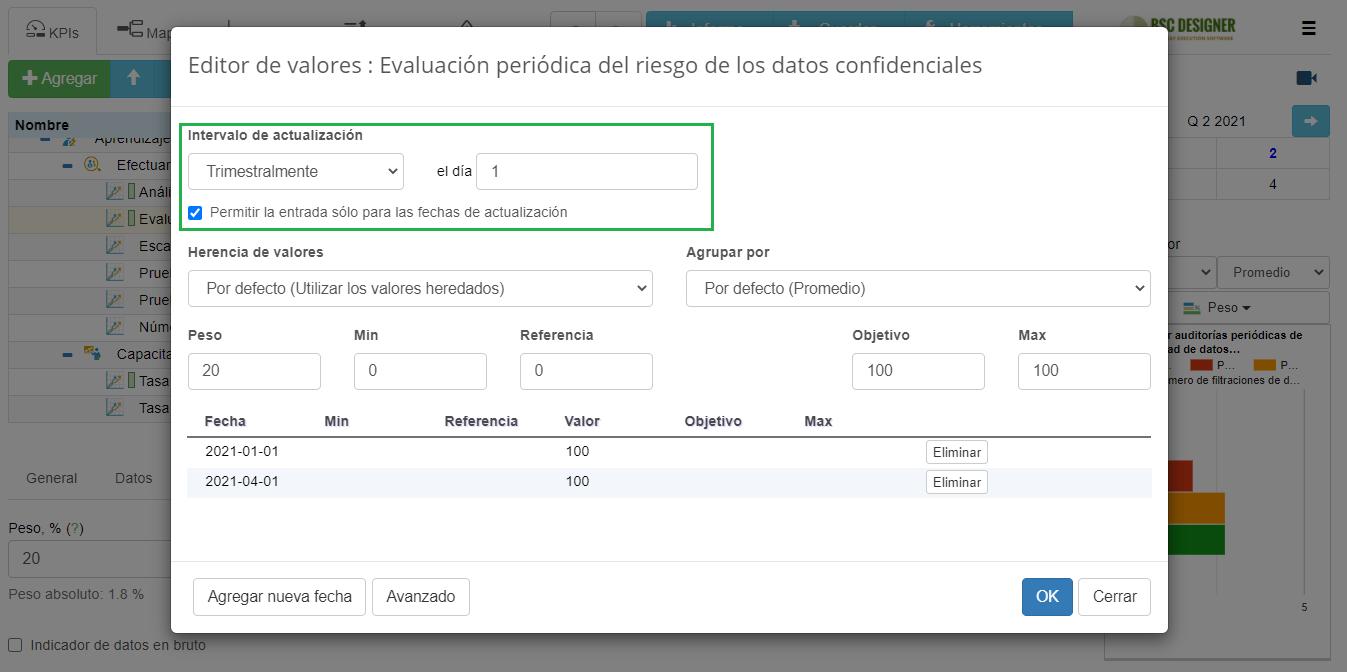 El intervalo de actualización está configurado para actualizarse trimestralmente