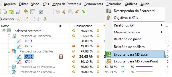 Exportar Indicador de Desempenho de KPI para o MS Excel