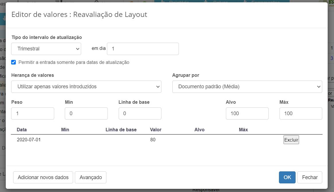 Configuração do KPI de reavaliação de layout