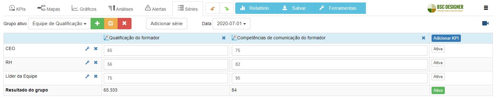 Qualificação de séries de dados