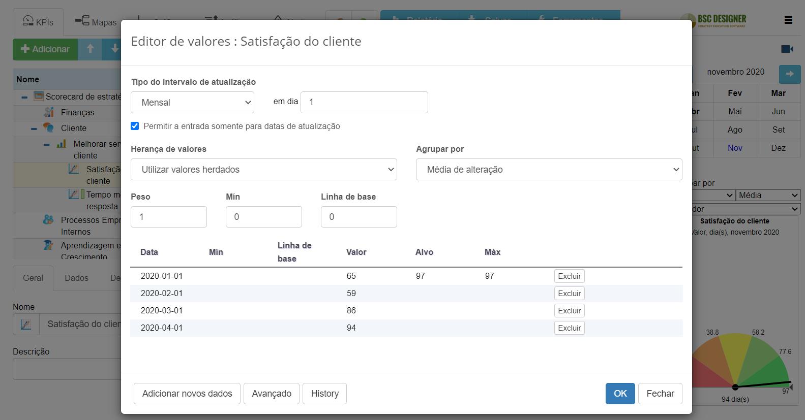 Controle o intervalo de atualização do KPI e configuração de agrupamento