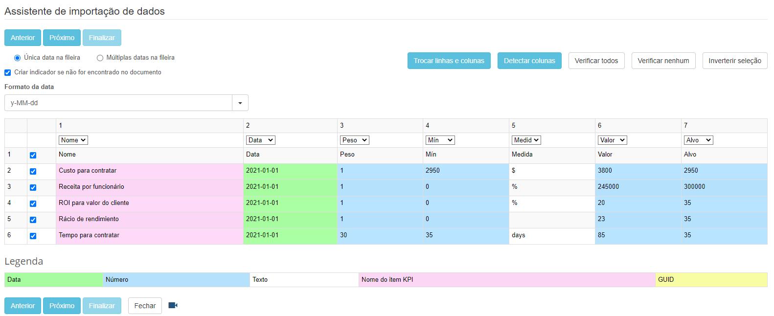 Importe dados de KPI do software de planilhas