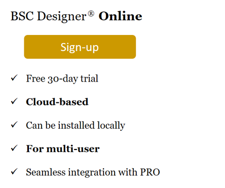Sign up with cloud-based BSC Designer Online