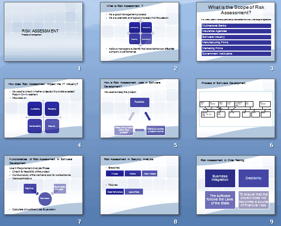 Risk Assessment Presentation Template. 15 PowerPoint slides (.pptx file)