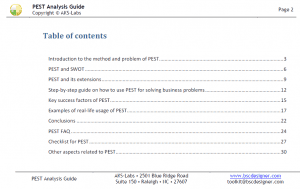 PEST Analysis Guide - Table of Contents