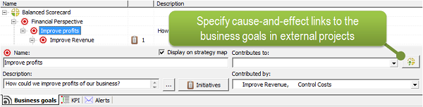 New button allows to specify cause-and-effect links to the business goals in external projects