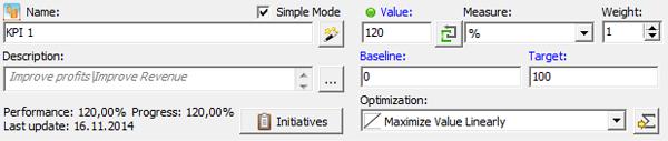 Simple KPI Mode - Enter KPI Performance Directly
