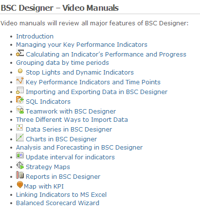 Video manuals in BSC Designer