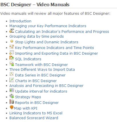 Video manuals in BSC Designer