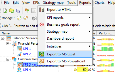 Export KPI Scorecard to MS Excel
