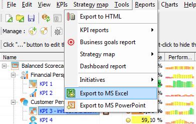Export KPI Scorecard to MS Excel