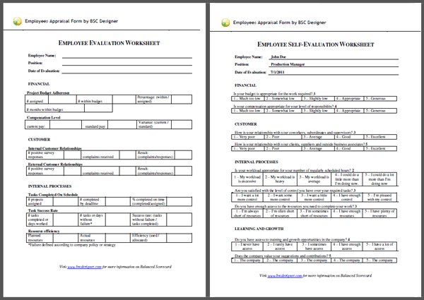 Employees Appraisal with Balanced Scorecard – Employee Monthly Review Template