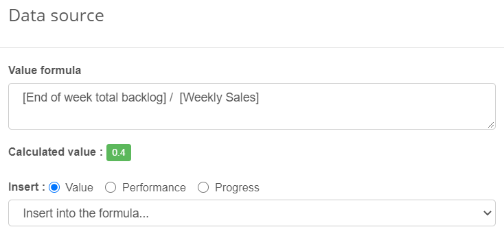 Backlog Weekly Sales KPI
