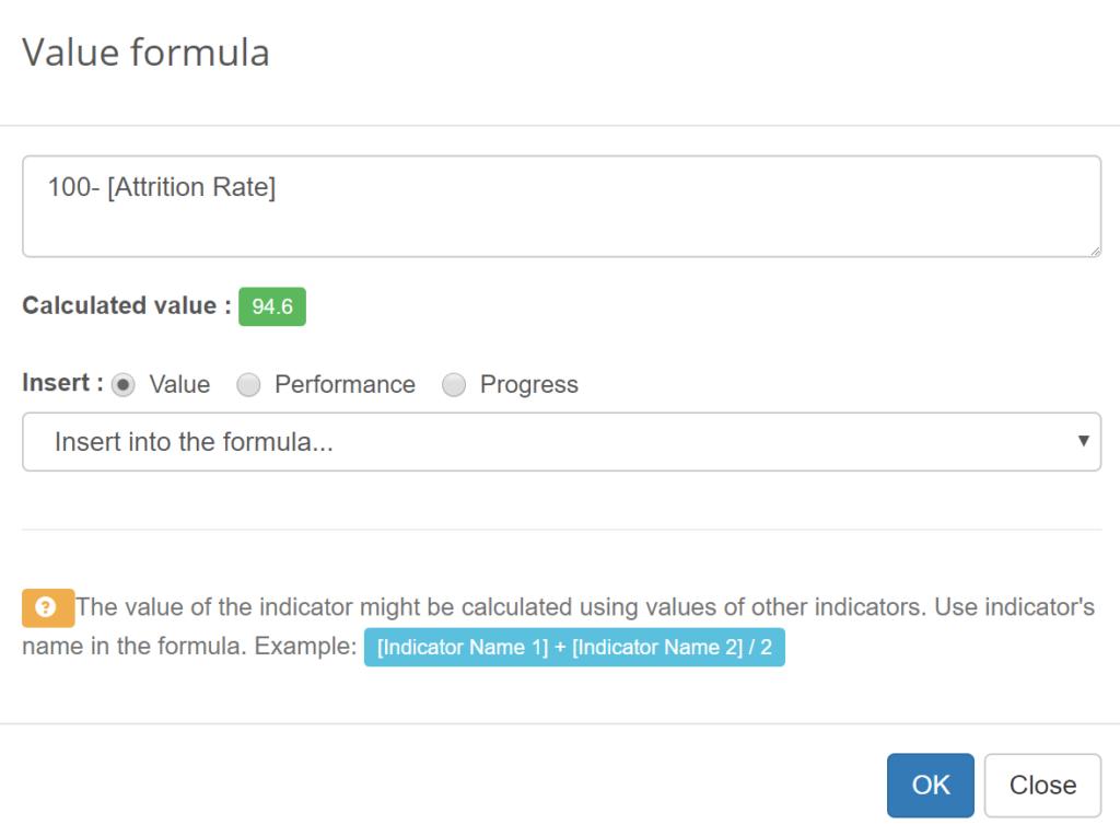 Retention rate KPI formula