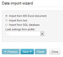 Data import wizard in BSC Designer Online