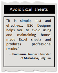 Avoid using Excel spreadsheets for the Balanced Scorecard