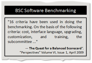 Balanced Scorecard software benchmarking