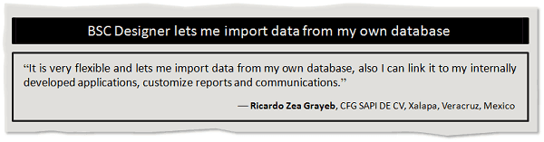 BSC Designer lets to import data from a database