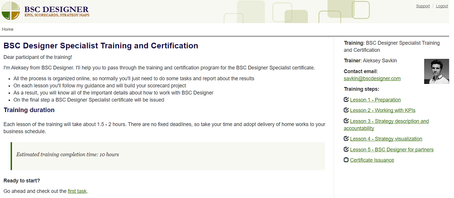 BSC Designer Specialist Training and Certification