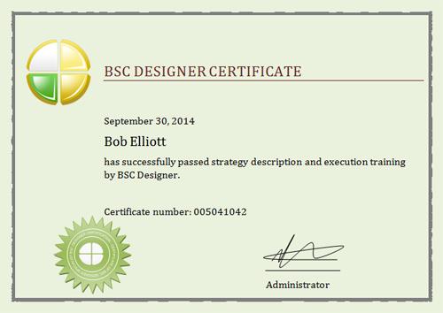 BSC Designer Training Certificate