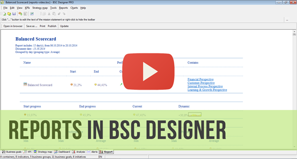Reports in BSC Designer - Video Manual