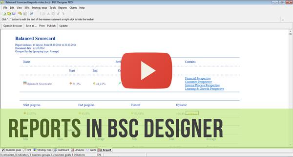 Reports in BSC Designer - Video Manual