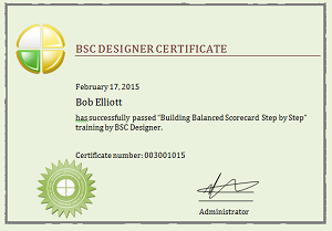 Building Balanced Scorecard Step by Step - Certificate