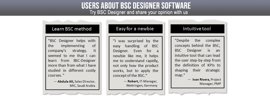BSC Designer makes Balanced Scorecard easy for a newbie