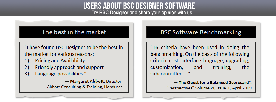 BSC Designer is the best in the market according to pricing, friendly interface and support