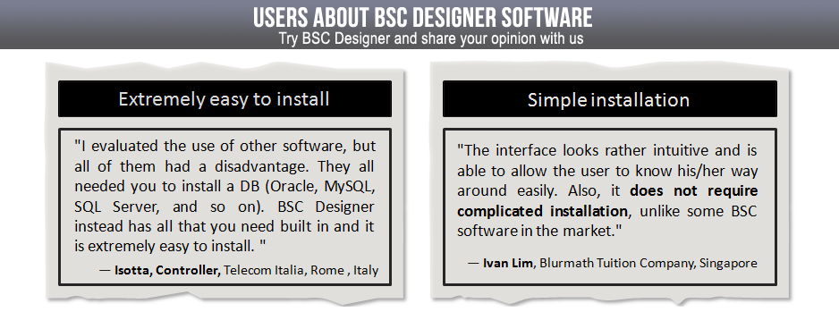 BSC Designer is extremely easy to install