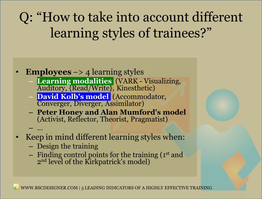 Taking into account 4 learning styles of trainees