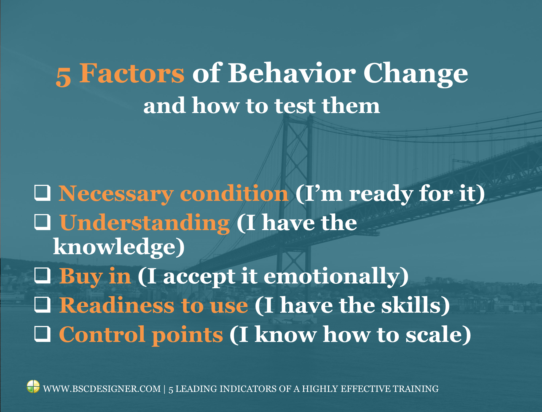 5 leading factors of the training that changes behaviour