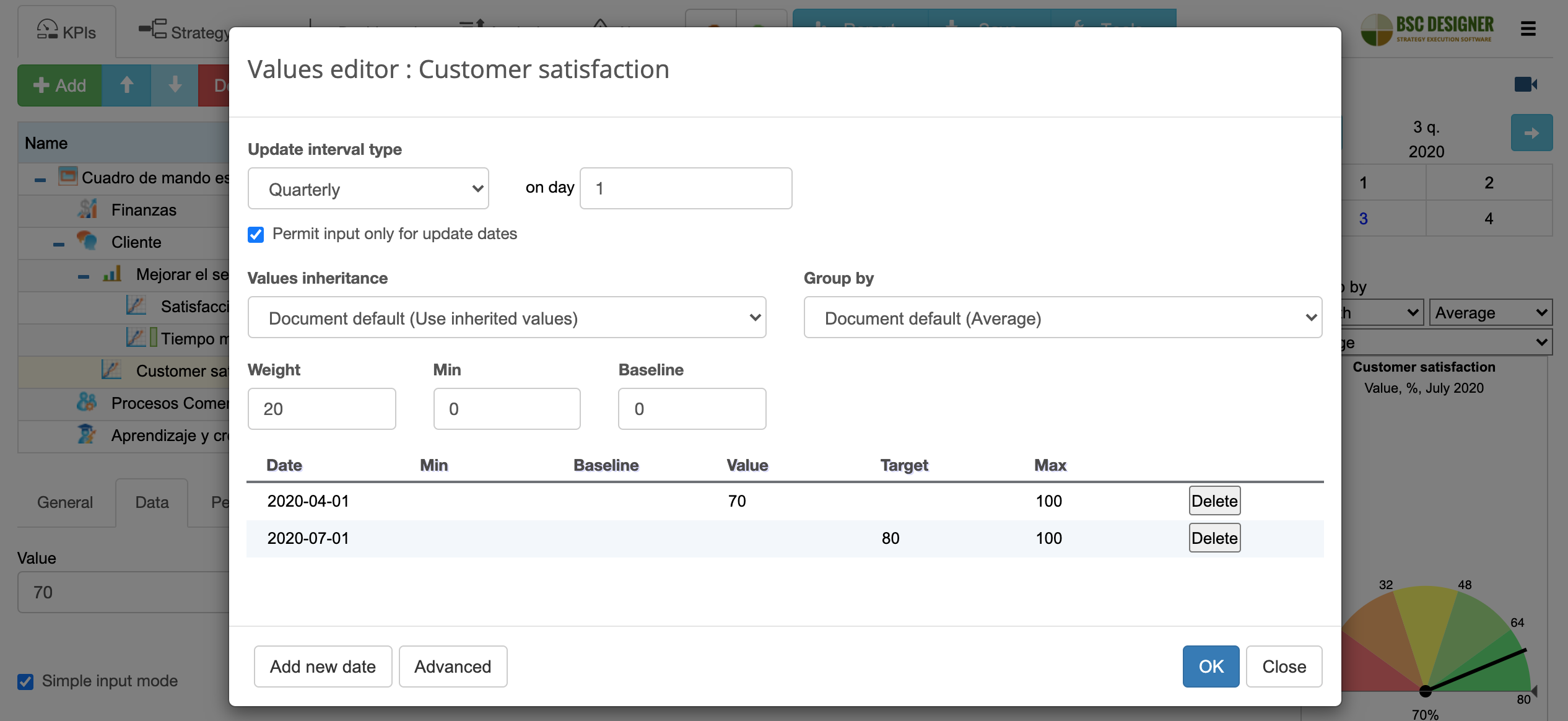 An example of update interval definition for customer satisfaction