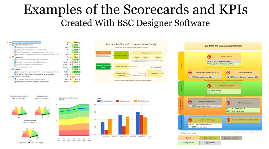 Check out 16 free examples of the Balanced Scorecards with KPIs created with BSC Designer software