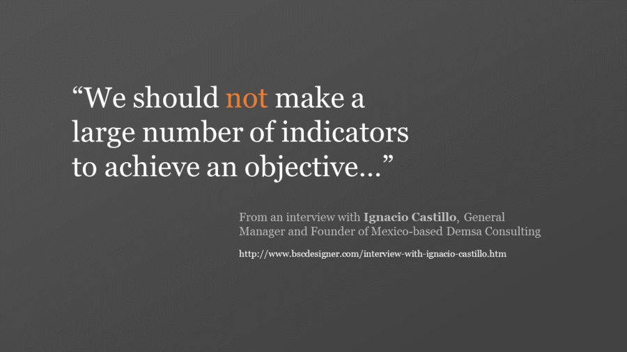 We should not make a large number of indicators to achieve an objective…""
