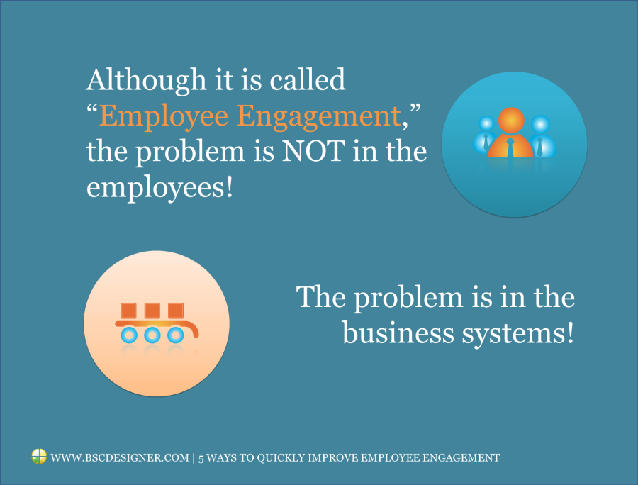 "Although it is called ""Employee Engagement,"" the problem is NOT in the employees! The problem is in the business systems!"