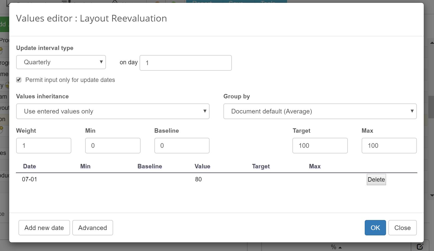 Layout reevaluation KPI setting