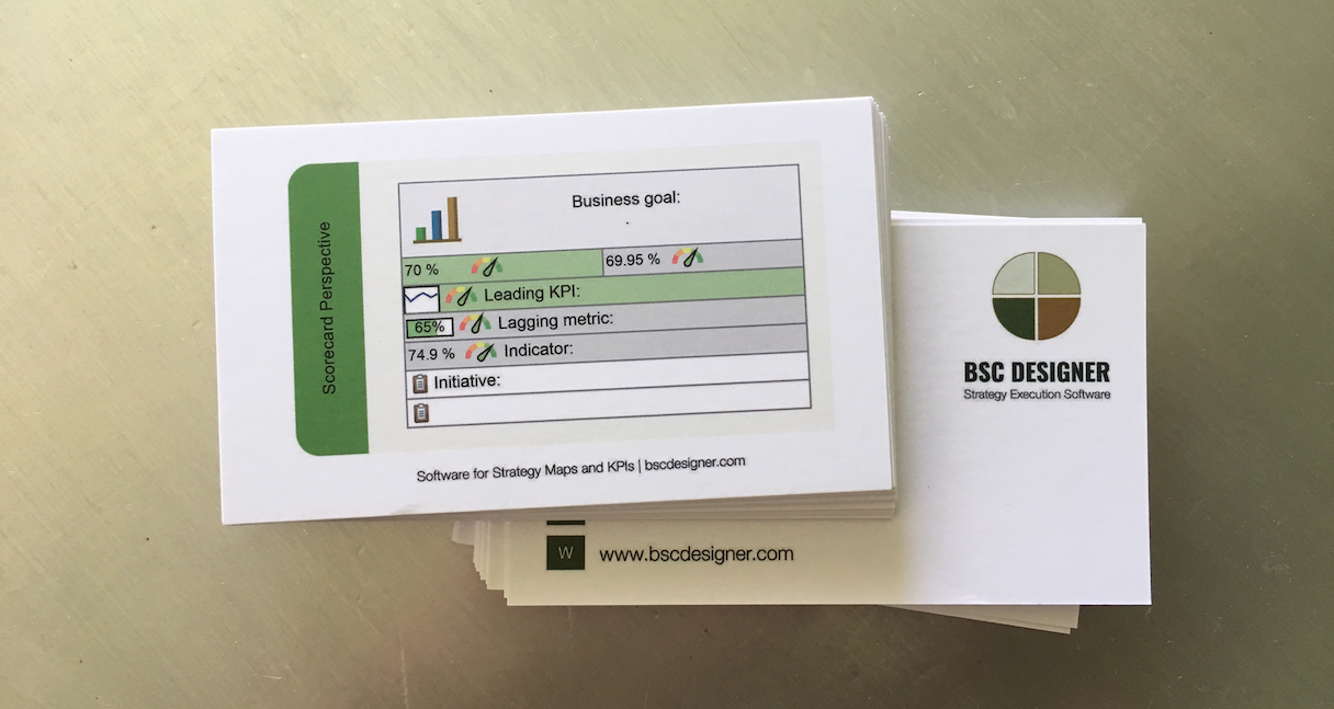 BSC Designer - business card example - one side is a business goal template