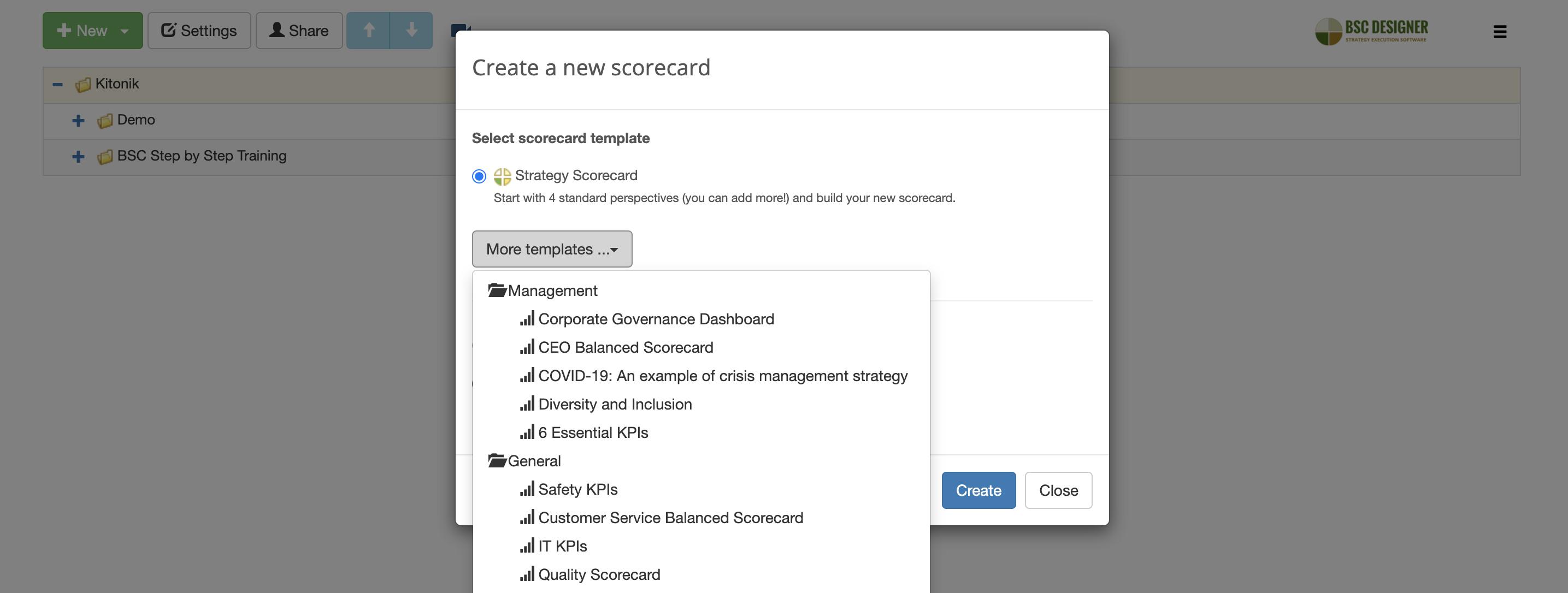Create new scorecard with a template